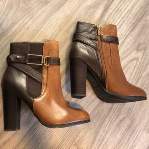 ALDO Bergson Two Tone Brown and Cognac Ankle Boots